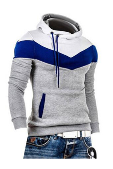 Mens Mixed Colors Hedging Slim Fleece Hooded Sweater (Light Grey)