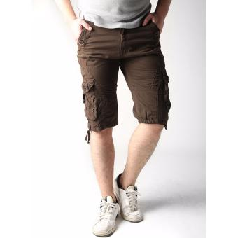 Men's New Army Six Pocket Cargo Shorts with Rope Design(Brown)