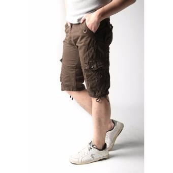 Men's New Army Six Pocket Cargo Shorts with Rope Design(Brown) - 3