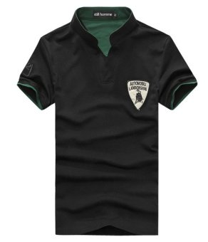 Men's new fashion slim Short-Sleeved POLO shirt with Lamborghiniprinted(BLACK)