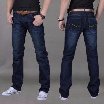 Mens Plus-size Cotton Denim Slim-fit Straight Long Jeans Trouser - intl - 2