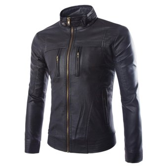 Men's PU Leather Casual Slim Jacket Fashionable Jacket(Black) -intl