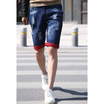 Men's Red Folded Leg Denim Ripped Short