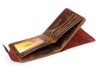 Mens Retro Genuine Leather Bifold Wallet - picture 2