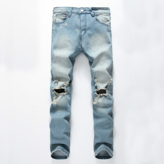 Men's Ripped Jeans Pants with Big Holes Slim Fit StretchyDistressed Denim Trousers Plus Size Blue - intl