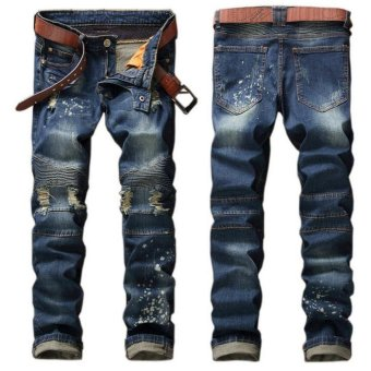 Men's Ripped Jeans Vintage Washed Denim Pants With Hole PatchPleated Jeans- Blue - intl