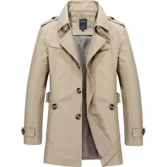 Men's Single Breasted Trench Jackets & Coats - Khaki