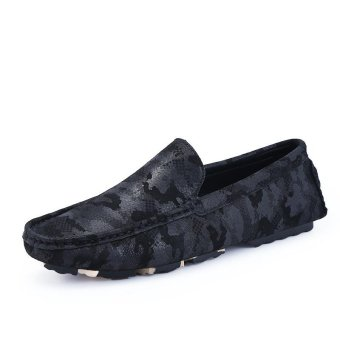 Men's Slip-Ons Fashion casual Loafers Flat shoes Cow leather shoes- intl