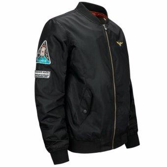 Mens Solid Flight Collar Bomber Jacket(Free Baseball Cap Hat) - intl - 2