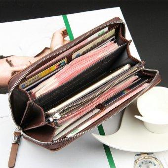 Mens Solid High-grade Leather Zipper Wallet Male Business Clutch Purse Cellphone Bag Blue - Intl - 2