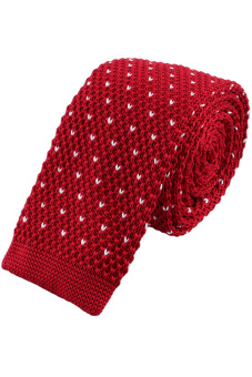 Men's Solid Narrow Slim Skinny Knitted Neck Tie(Maroon) - picture 2