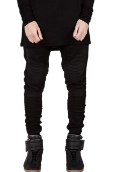 Mens Stretch Pintunck Slim Denim Biker Jeans (Black) (Intl) - Intl