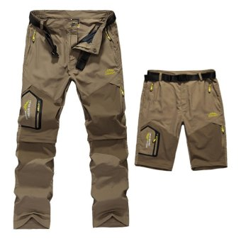 Mens Summer Quick Dry Removable Pants Outdoor Brand Clothing Mens Breathable Shorts Men Hiking Camping Trekking Trousers (Khaki) - intl