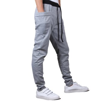 Mens Sweatpants Jogging Tracksuit Bottoms HIP HOP Jogger Sport Sweat Pants Gray - 4
