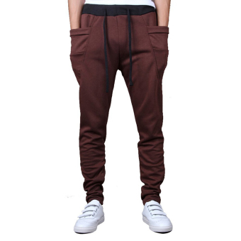 Mens Sweatpants Jogging Tracksuit Bottoms HIP HOP Jogger SportSweat Pants Brown