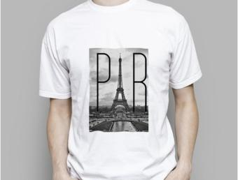 Mens T-Shirt The Eiffel Tower in Paris for T-Shirts Short SleeveCustom Design Men White Cotton tshirt - intl