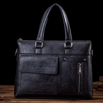 Men's Tote Genuine Cowhide Leather Handbag Business Portable BagCrossbody Bag Briefcase (Black) Price Philippines