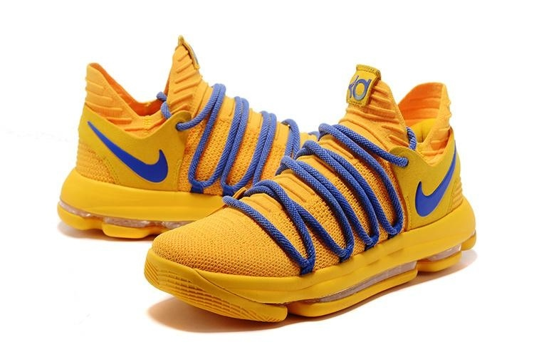 Men's Zoom KD10 EP Basketball Shoes Yellow / blue - intl - 2