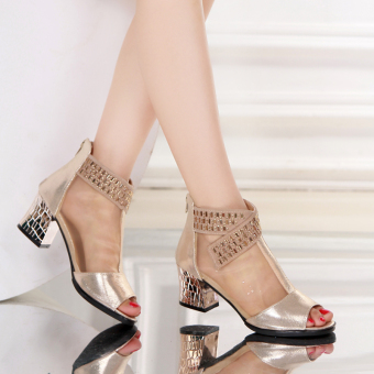 Mesh female New style summer semi-high heeled women's shoes sandals (009 gold)