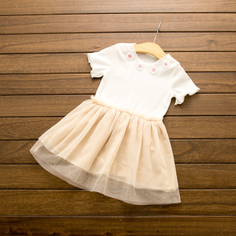 Mesh girls New style short sleeved Baobao princess dress stitching skirt (Off-white color)
