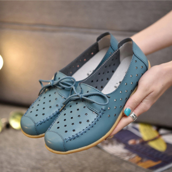Mf-6511 porous lace porous white shoes summer women's shoes (Blue)