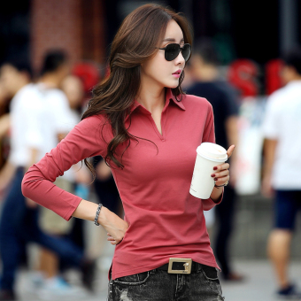 Mibeini Korean-style cotton Slim fit female polo shirt Women's bottoming shirt (Brick red)