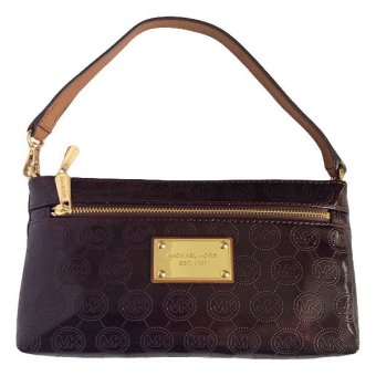 Michael Kors Logo Large Wristlet (Dark Brown)