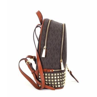 Michael Kors Rhea Zip Medium Studded Backpack - Brown - 3