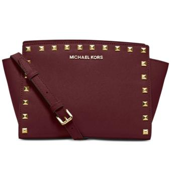 MICHAEL KORS Selma Medium Studded Leather Messenger MERLOT