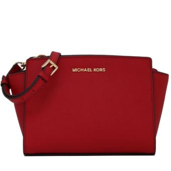 MICHAEL KORS Selma Mini Saffiano Leather Crossbody RED