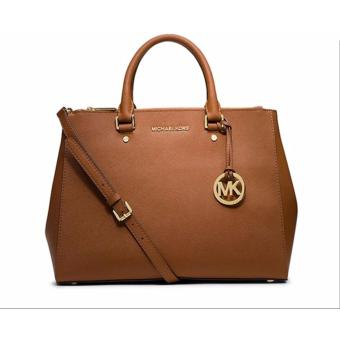 Michael Kors Sutton Saffiano Leather Large Satchel Handbag - Brown