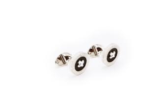 Miche Onyx Button Cufflink with Cross Stitch (Black) - picture 2