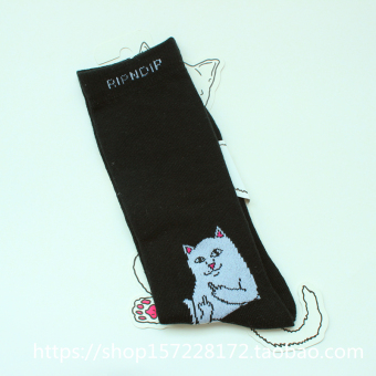 Middle finger cool female New style couple's skateboard Socks (Black)