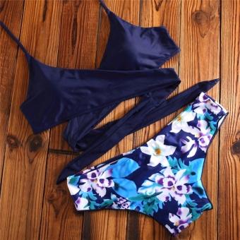 Midnight Floral Bikini Wrap Around Sexy Bikini Two Piece SwimwearSwimsuit - 3