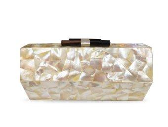 Mika and Gela Claude Shell Clutch Bag (White)