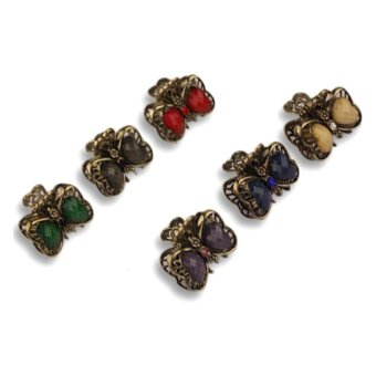 Mini Ribbon Jaw Clips Multicolor Set of 6