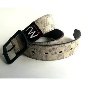 MJ BY MCJIM Fashionable Leather Belt MJF-19868-40 Light Gray - 4