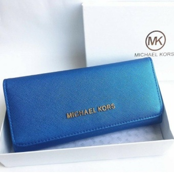 MK Metallic Trifold Purse (Blue) - intl