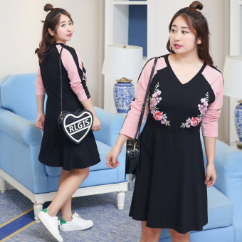 MM embroidery New style Plus-sized long section long-sleeved dress