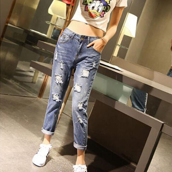 MM female ankle-length pants Plus-sized denim pants