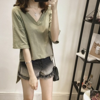 MM female long section short-sleeved Top bottoming shirt (Dark green color)