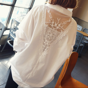 MM female long-sleeved New style mid-length backless Top shirt