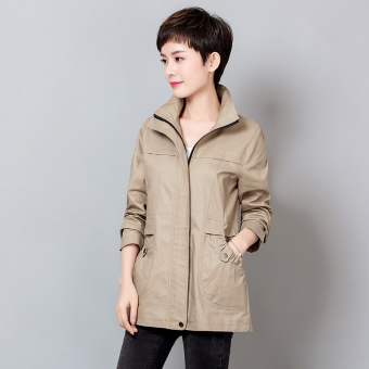 MM female mid-length long-sleeved New style Plus-sized coat (Khaki)