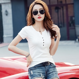 MM female Slim fit Short sleeve bottoming shirt solid color short-sleeved t-shirt (White)
