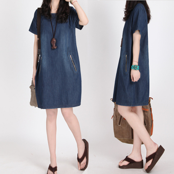 MM Korean-style slimming short sleeved cowboy dress A-line dress