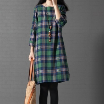 MM Korean-style spring New style plaid a word skirt (Green Grid) (Green Grid)