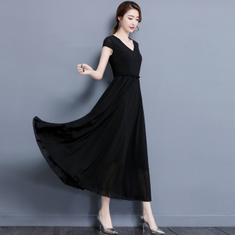 MM New style fat high-waisted chiffon dress (Black)