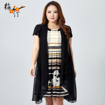 MM New style Plus-sized mid-length striped dress
