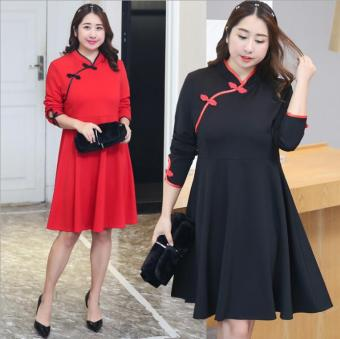 MM New style to increase in the long section dress collar dress (Red)
