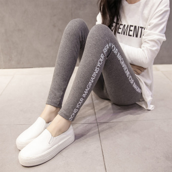 MM Plus velvet female outerwear high-waisted warm pants leggings (Dark gray color)